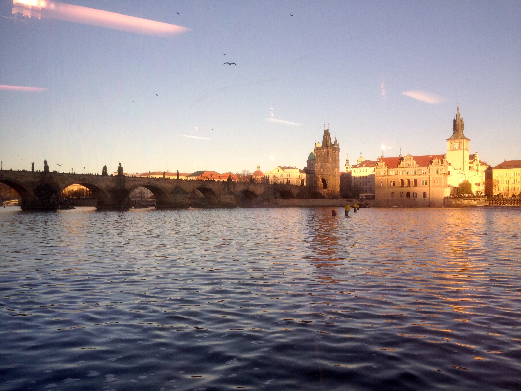 Another view from the Vlatava River, through the tour boat glass.