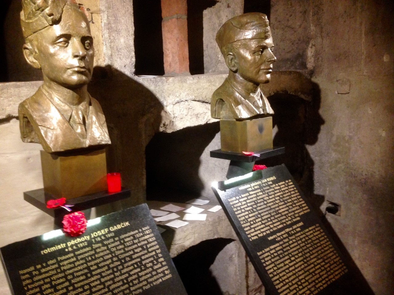 Busts of Gabcik and Junis inside the crypt where the survivors took shelter.